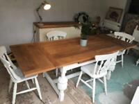 kitchen Dining Refectory Table Vintage Oak Extending and Chairs