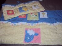 Cot bumper, quilt and matching lamp shade