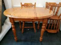 Antique pine extendable table with 4 chairs