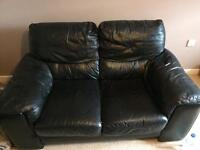 Black leather sofas - 2 and 3 seater