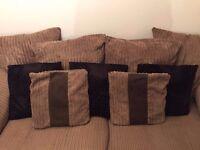 Creamy Brown Fabric 3 Seater Sofa