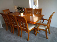 Real Wood Dining Table with Eight Chairs, extends from 157cm to 228cm
