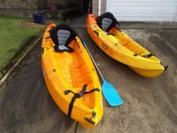2 x RTM Mambo kayaks, brand new Hi-back comfort seats and basic paddles.