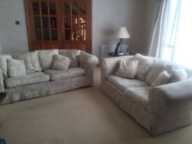 Large three,two and one cream cloth suite