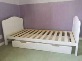 Mothercare Darlington White cot bed and under drawer