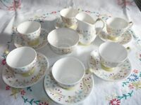 Queen Anne Lucerne Coffe Cups/Saucers Sugar Basin and Milk Jug