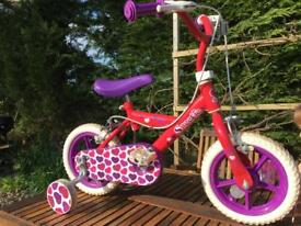 Pink girls Bike with stabilisers from Halfords
