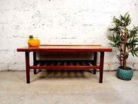 Myer Mid Century Long Teak Retro Danish Design Coffee Table With Rack CR0002
