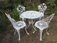 CAST ALUMINIUM GARDEN SET --TABLE AND 4 CHAIRS --GRAPES AND VINE DESIGN --