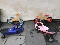 Wiggle cars and balance bikes