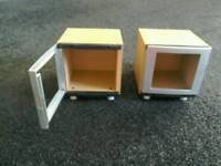 TWO BEECH AND SILVER CD HOLDERS