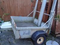 BATESON HEAVY DUTY STEEL TRAILER 62INCH WIDE 52INCH LONG WITH LOADING RAMP AND LIGHTING BOURD