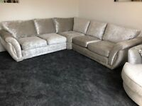Silver crushed velvet corner unit sofa woth swivel armchair and matching footstool