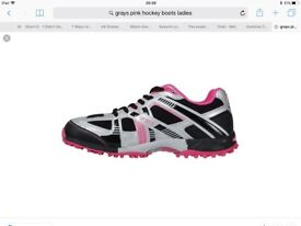 REDUCED BRAND NEW still in box Grays AstroTurf shoes Black Pink and Silver size 8 Euro 42