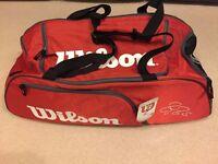 Wilson Roger Federer Team III Duffle Travel 2 Racquets Bag, New