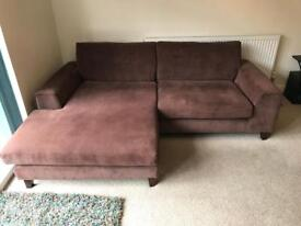 4 Seater Chaise Lounger Sofa & Snuggle Chair Graceland Dark Brown