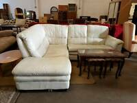 White leather left side corner sofa