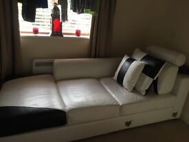 Italian leather 3 seater/lounger