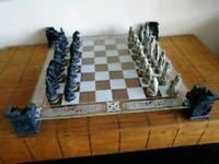 Vampire vs Werewolf glass chess set