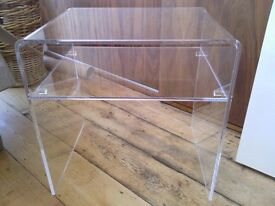 Clear acrylic perspex plastic side / coffee / bedside / occasional table