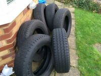 Six part worn tyres 4~5mm tread 195/70R/15C