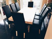 8x Black Leather Dining Room Chairs
