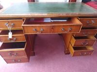 Antique style Yew Wood Leather topped desk/Two Keys