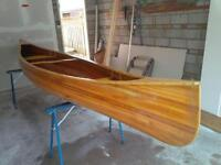 Natural Stained Cedar Strip Canoe