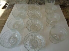 Glass Dessert dishes & 2 Large serving dishes