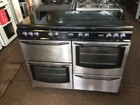 Stainless steel new world 110cm seven burners gas cooker grill & double oven good condition with g
