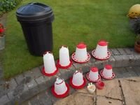 Poultry / chicken food and watering feeders 2 large & 2 small, plus bin for grain storage
