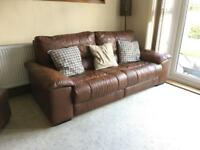 Leather sofa / suite. 3+2 + foot stool. Electric recliners.