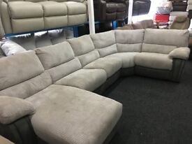 New/Ex Display Grey Arlington Electric Recliner Group Sofa With Chaise
