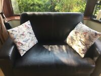 Two seater leather settee (with matching armchairs)