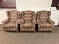 Next Sherlock tweed tartan wingback armchair * free furniture delivery *