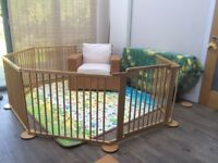 Large 8-sided wooden baby/toddler playpen