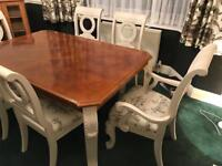 Vintage French Style Chic Dining Table and Chairs