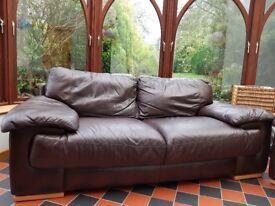 Sofas. Italsofa genuine leather three piece suite, dark brown. 1 three seater sofa, 2 armchairs.