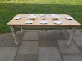 26d9e12098d Large 6ft solid pine farmhouse dining table. Beige stone shabby chic. Seats  6