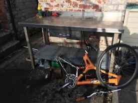 Large industrial kitchen catering table