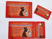Pet Accessories Dog Cat Pet Rescue Home Alone ICE (In Case of Emergency) Card and Key Fob
