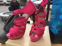 Carvela Pink Satin Strappy Sandals Size 39