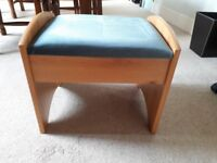 Stool, for use at desk or dressing table. Pine effect with grey/blue velour cover