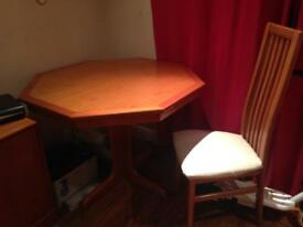 G plan teak dining room table and 6 chairs