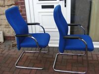 2x Blue Reception Chairs Padded Office Armchairs Meeting Room Training High Back