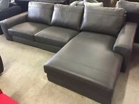Grey leather corner chaise sofa new