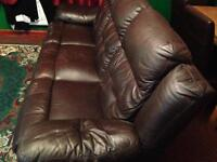 Brown leather 3 seater sofa and chair by lazboy .