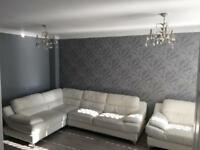 White Leather Corner Couch and Chair