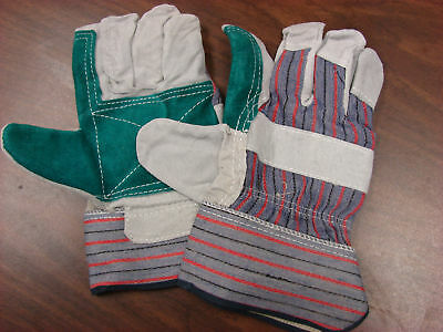 Gloves-Split Cow Leather Palms X-Large Green/Striped