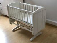 Mothercare deluxe gliding crib with extras